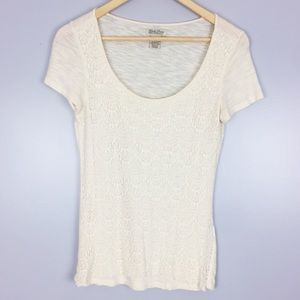 Lucky Brand | Ivory Lace Short Sleeve Shirt | S